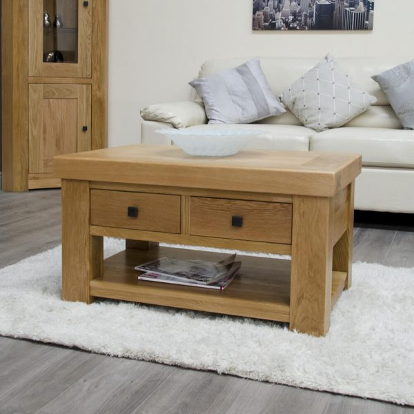 Hippo Oak Coffee Table with Drawers