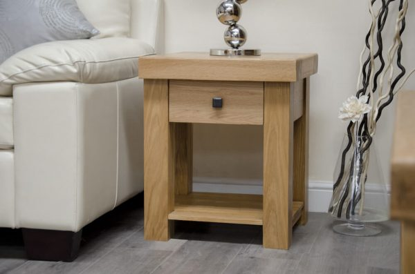 Hippo Oak Lamp Table with Drawer
