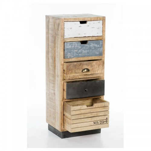 Industrial 5 Drawer Tall Chest