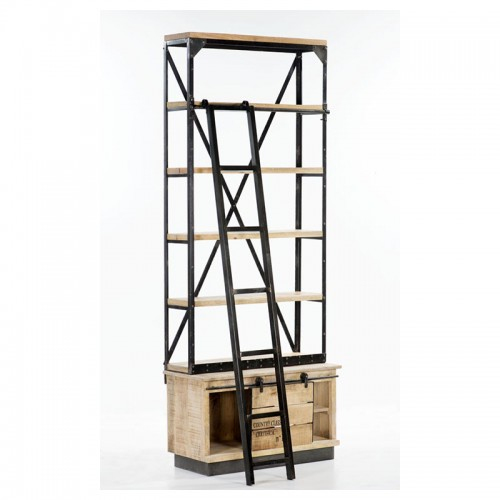 Industrial Large Bookcase with Ladder