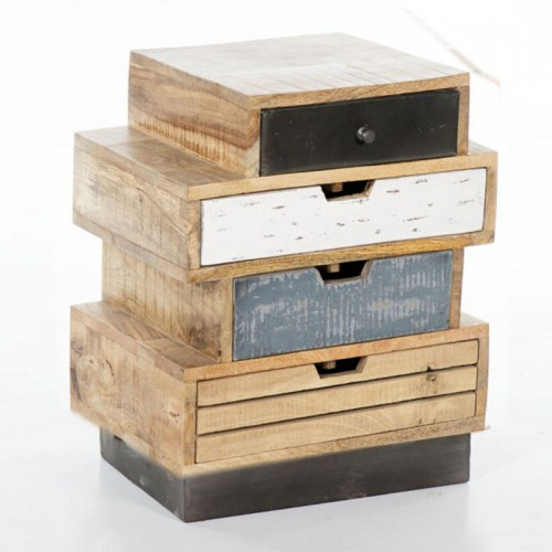 Industrial Stacked 4 Drawer Side Table