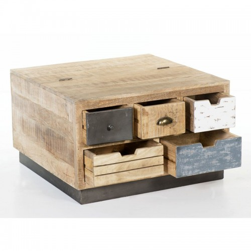 Industrial Square Coffee Table Trunk with Drawers
