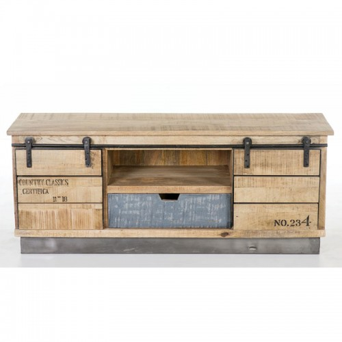 Industrial Large TV Unit with Sliding Doors