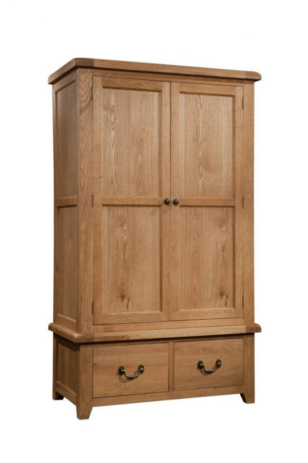 Okeford Oak Double Wardrobe with 2 Drawers