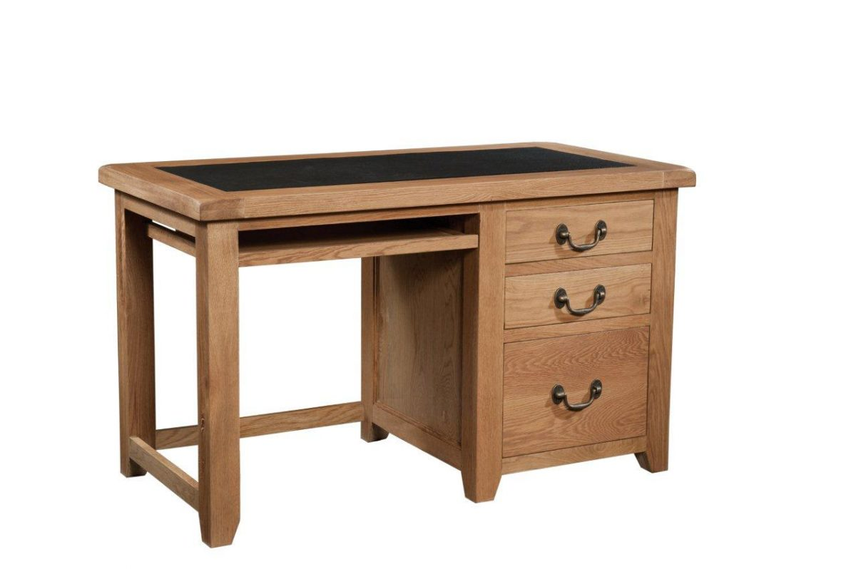 Okeford Oak Office Desk with Faux Leather top