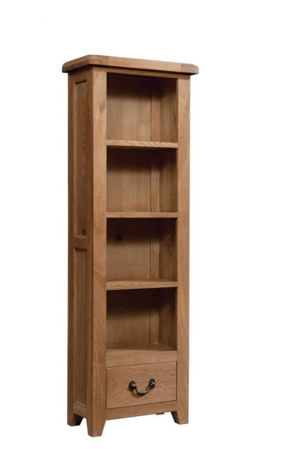 Okeford Oak Boocase Tall Narrow with 1 Drawer