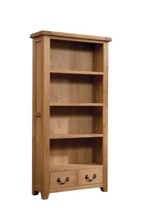 Okeford Oak Boocase Tall Wide with 2 Drawers