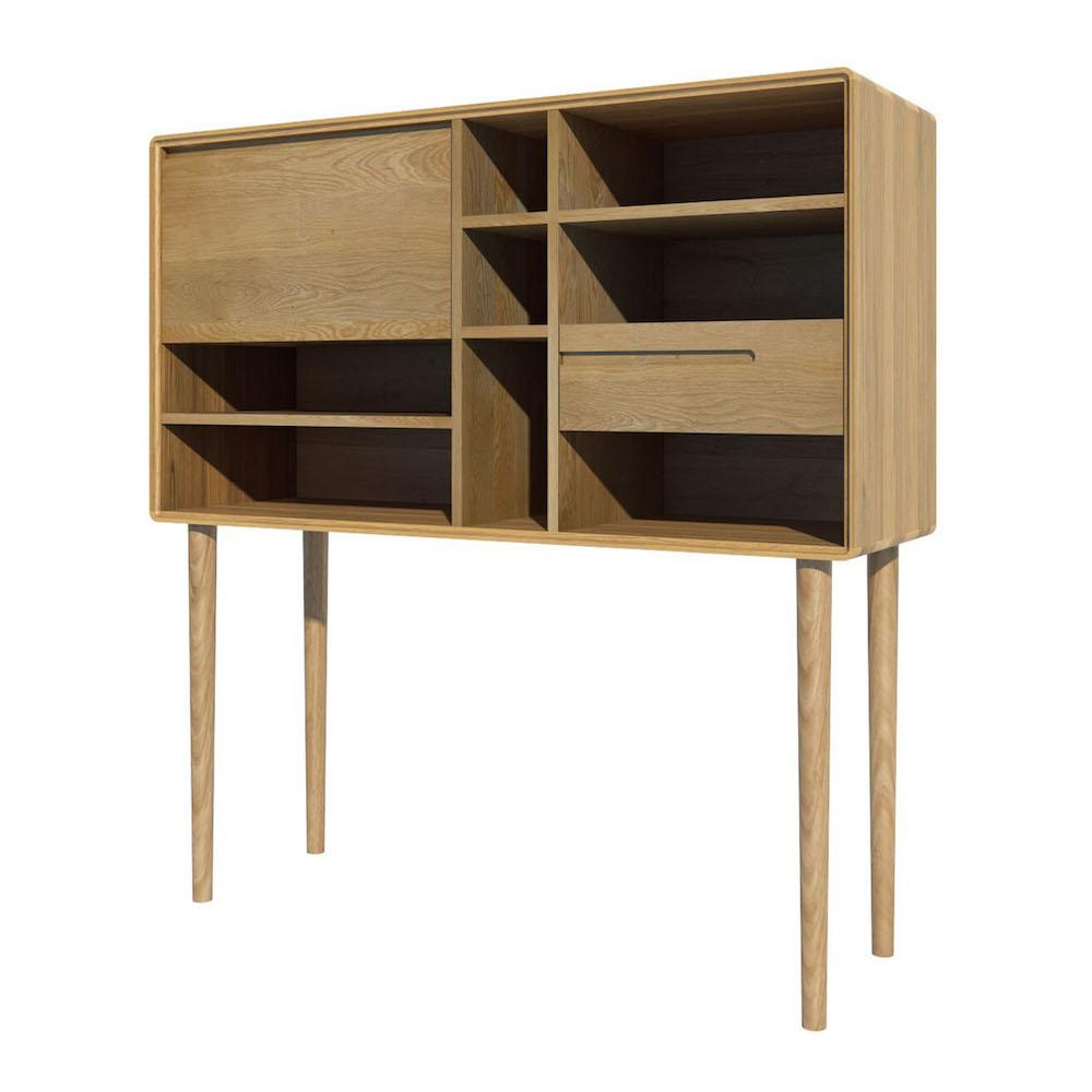 Oslo Oak Wide Storage Cabinet on Legs