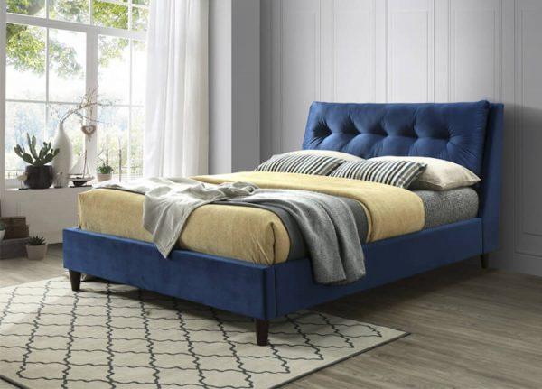 Pillow Back Velvet Bed - King (150cm) - Blue