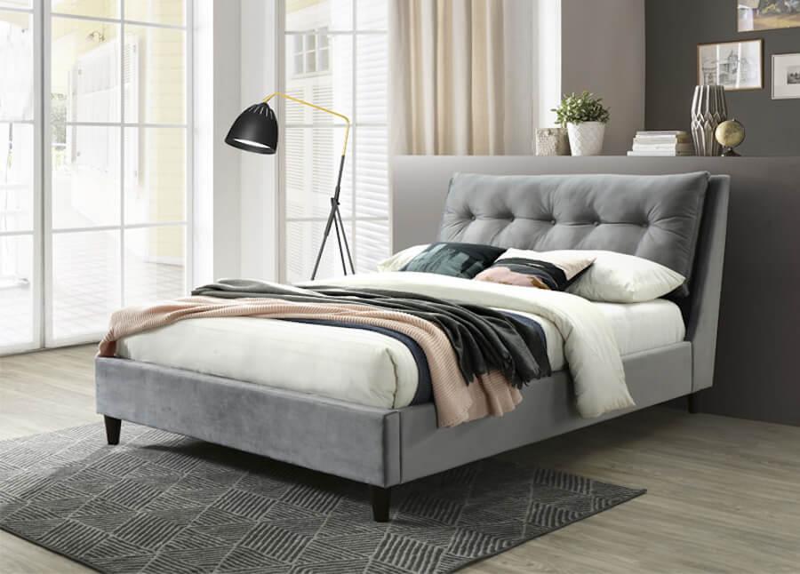 Pillow Back Velvet Bed - King (150cm) - Grey