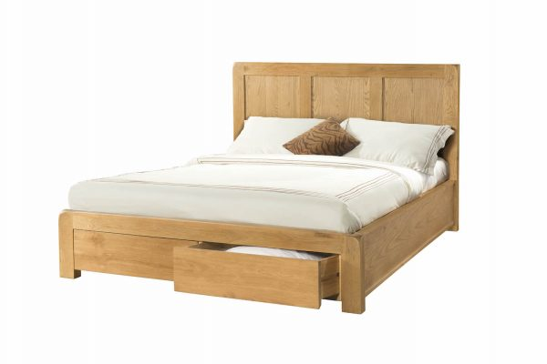 "Radford Oak 4'6"" Double Bed with 2 Storage Drawers"