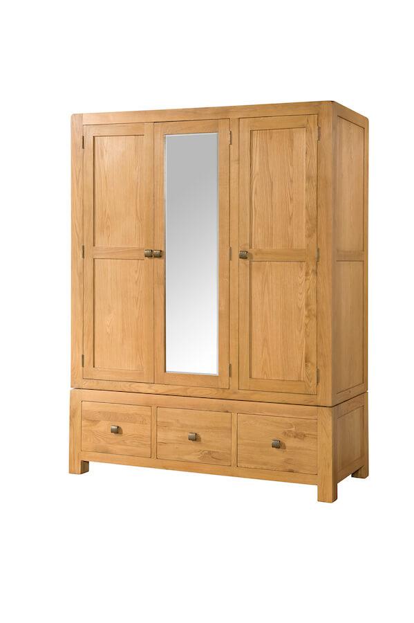 Radford Oak Triple Wardrobe with 3 Drawers and Mirror