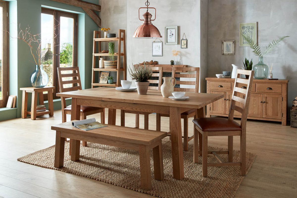 Saxon Rough Sawn Oak Dining Table with 6 Chairs