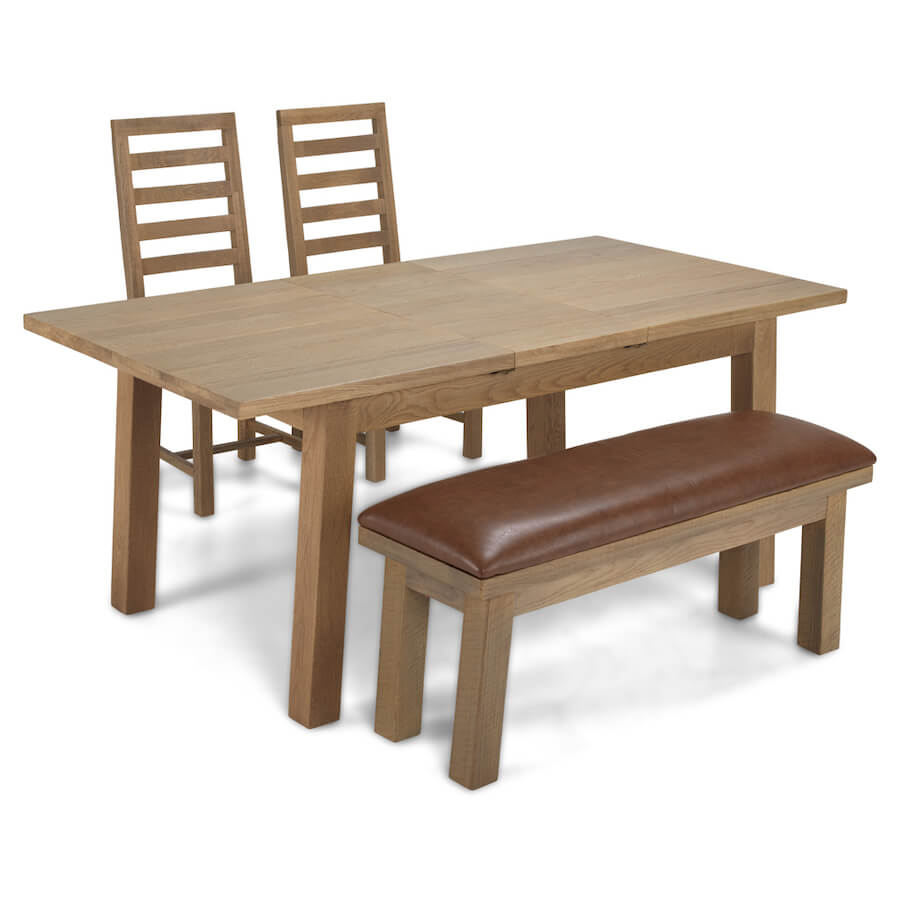 Saxon Rough Sawn Oak Dining Table with 2 Chairs and 1 Bench