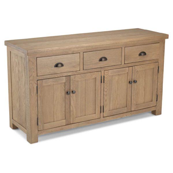 Saxon Rough Sawn Oak Large Sideboard