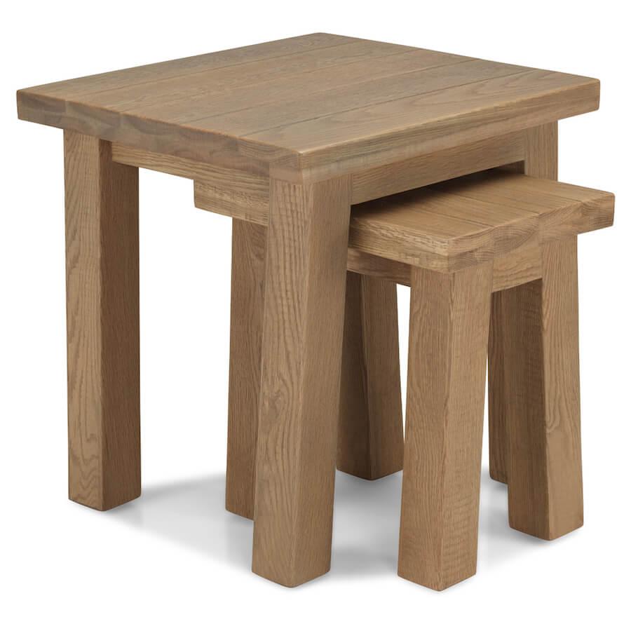 Saxon Rough Sawn Oak Nest of Tables