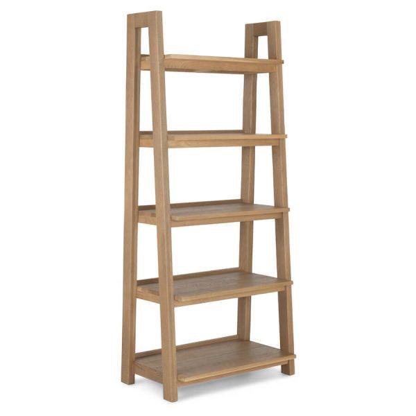 Saxon Rough Sawn Oak Open Bookcase Ladder Display Unit
