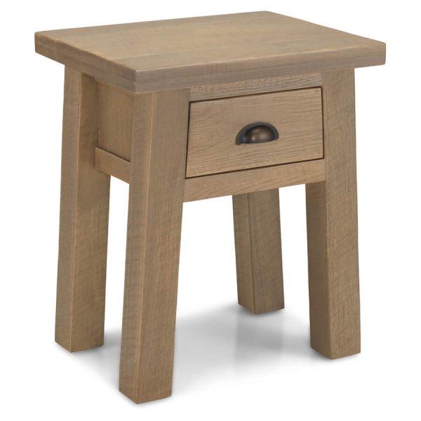 Saxon Rough Sawn Oak Lamp Table with Drawer