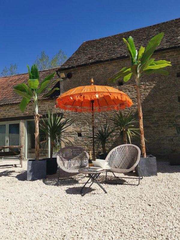 Large Balinese Sun Parasol - Orange & Gold