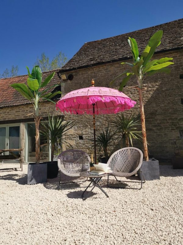 Large Balinese Sun Parasol - Pink & Gold