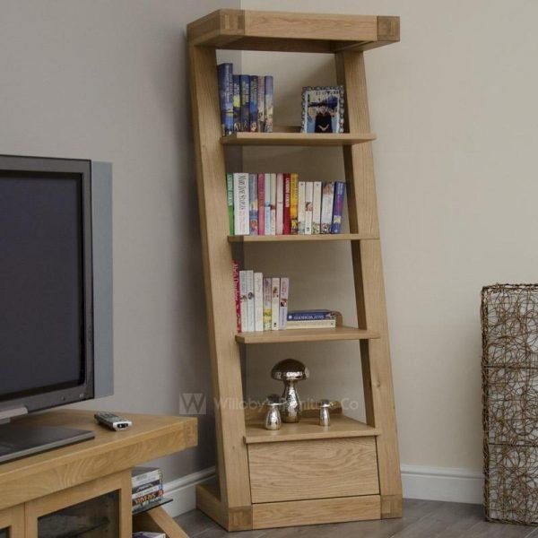 Zebra Oak 1 Drawer Narrow Bookcase