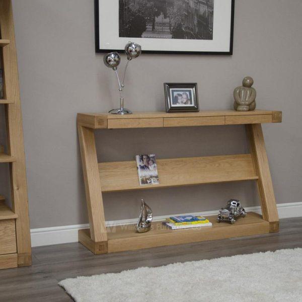 Zebra Oak 3 Drawer - Wide Console Table with Shelf