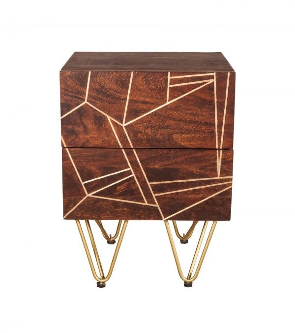 Dark Gold Inlay 2 Drawer Side Table