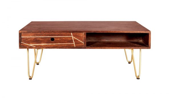 Dark Gold Inlay Coffee Table with Drawer