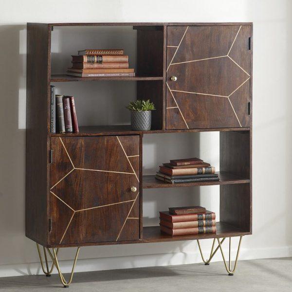 Dark Gold Inlay Display Cabinet