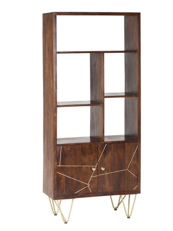 Dark Gold Inlay Large Bookcase with Cupboard