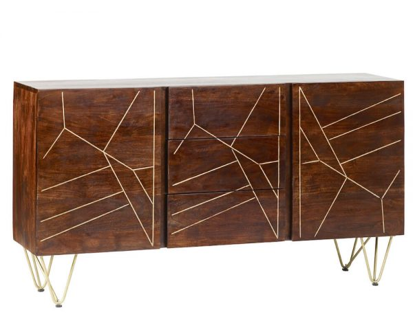 Dark Gold Inlay Extra Large Sideboard 2 Doors & 3 Drawers