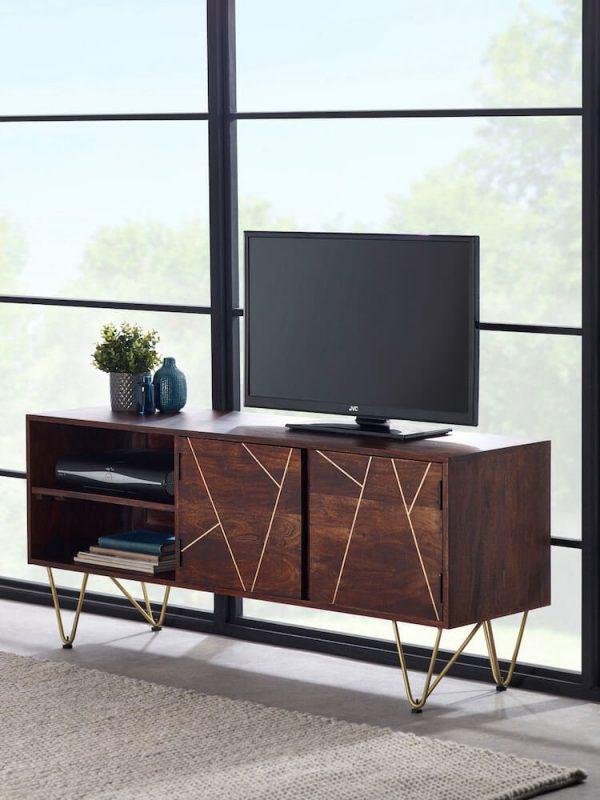 Dark Gold Inlay Large 2 Door TV Unit