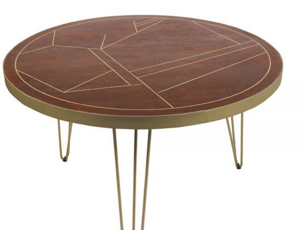 Dark Gold Inlay Round Dining Table - 120cm