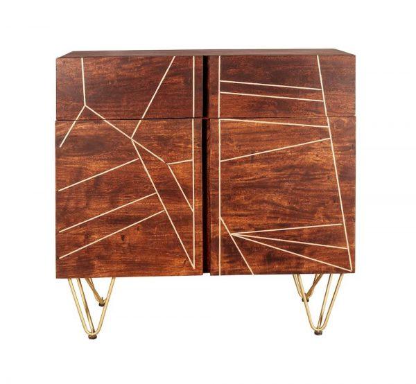 Dark Gold Inlay Medium Sideboard with 2 Doors