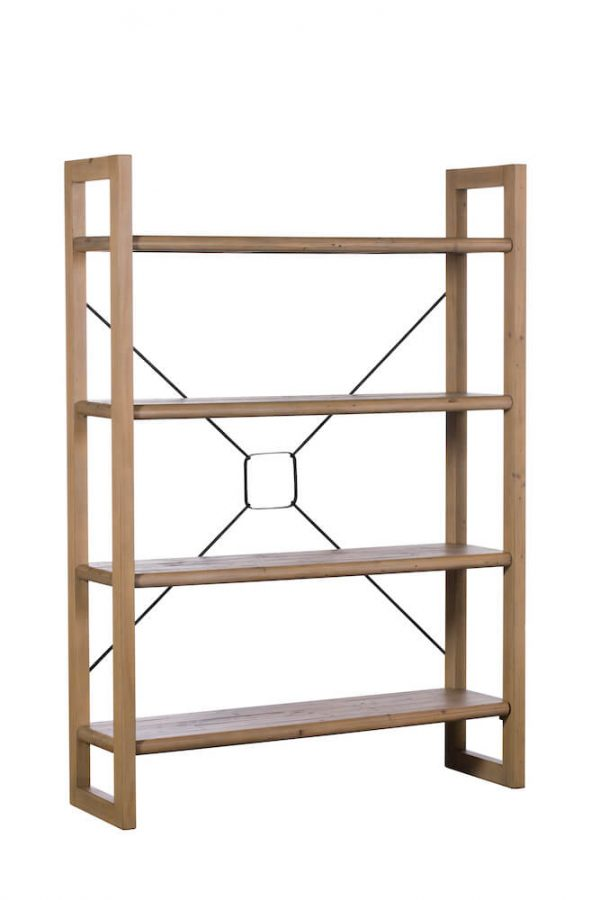 Ellora Bookcase Open Back with metal cross bars