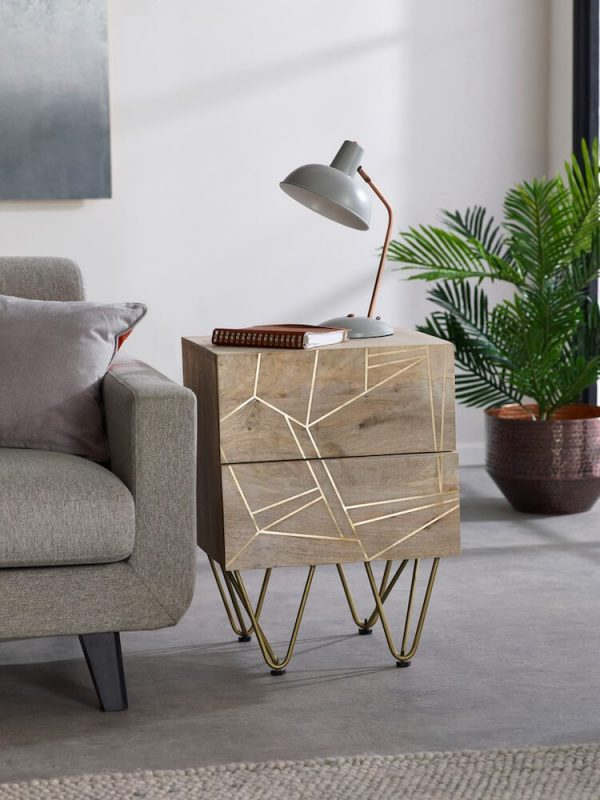 Light Gold Inlay 2 Drawer Side Table