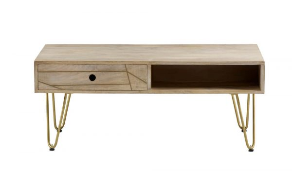 Light Gold Inlay Coffee Table with Drawer