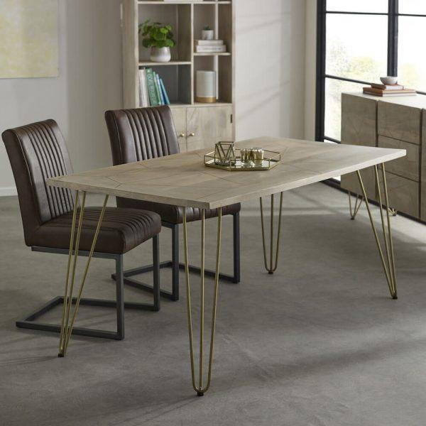 Light Gold Inlay Dining Table - 160cm - 85cm
