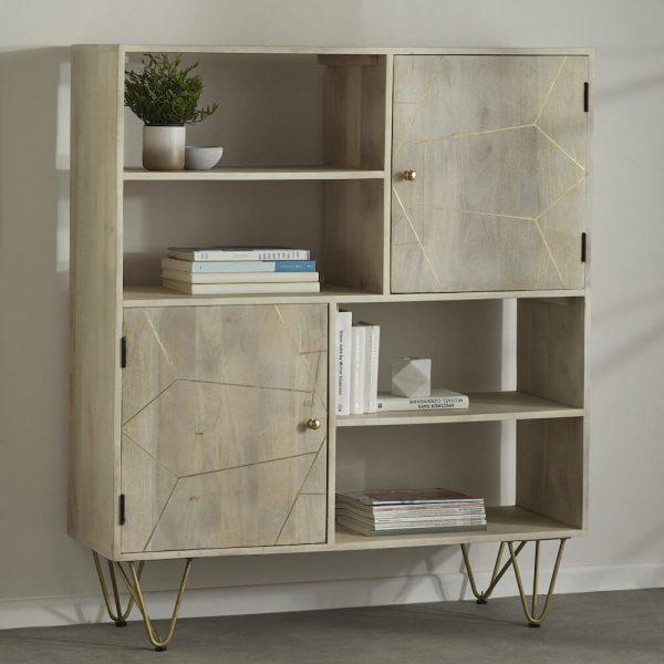 Light Gold Inlay Display Cabinet