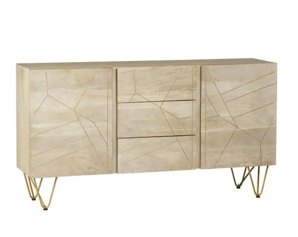 Light Gold Inlay Extra Large Sideboard 2 Doors & 3 Drawers