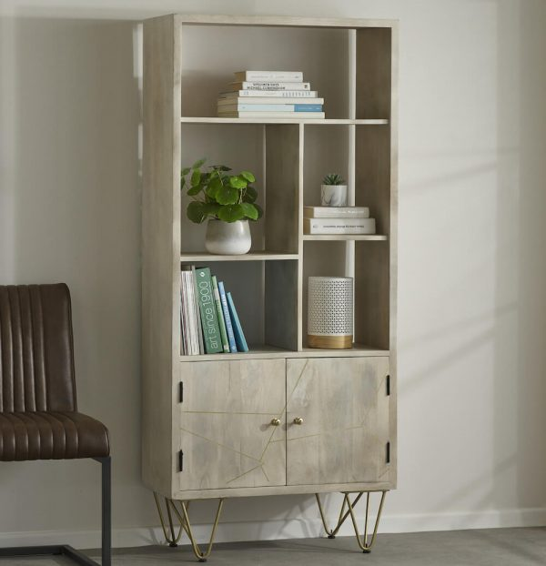 Light Gold Inlay Large Bookcase with Cupboard