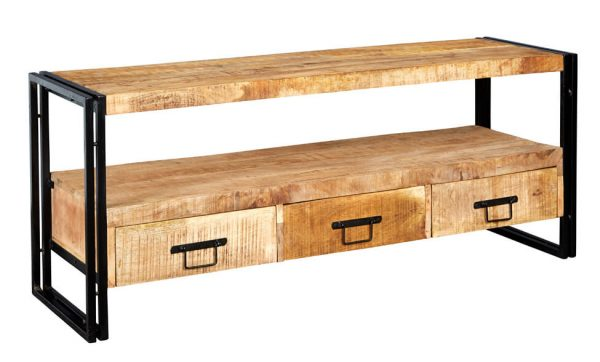Luna Industrial Large TV Unit with 3 Drawers
