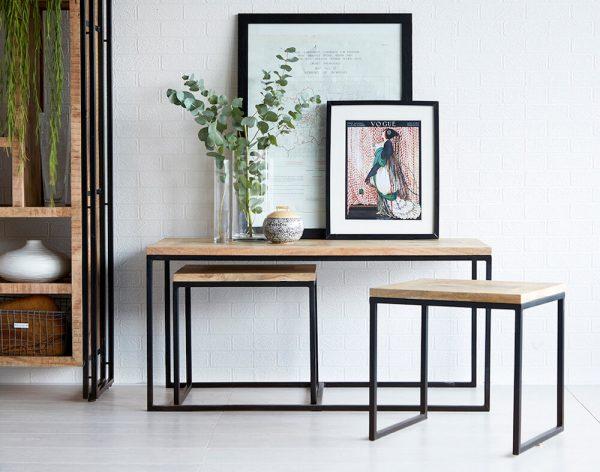 Luna Industrial Long John Coffee Table Set
