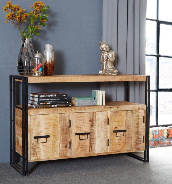 Luna Industrial Medium Sideboard with Open Shelf