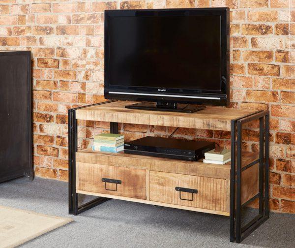 Luna Industrial Medium TV unit with 2 Drawers