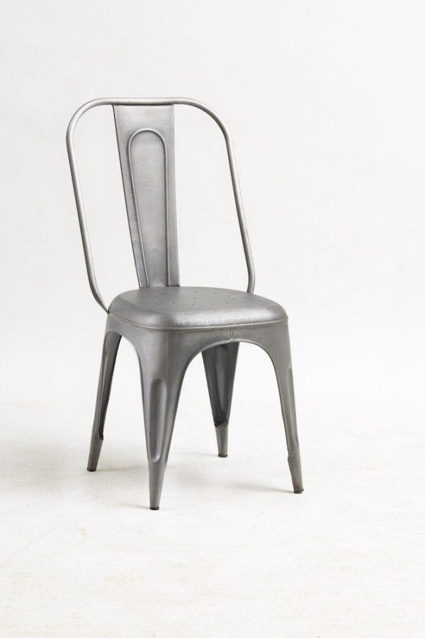 Luna Industrial Metal Chair Grey (Set of 2)