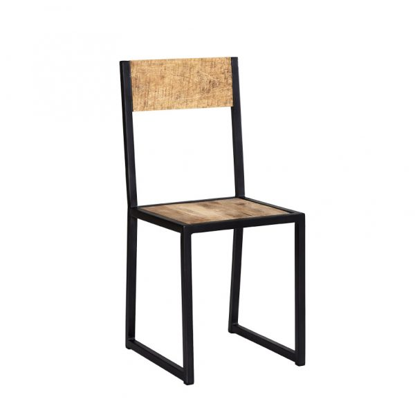 Luna Industrial Metal and wood Dining Chair (Set of 2)