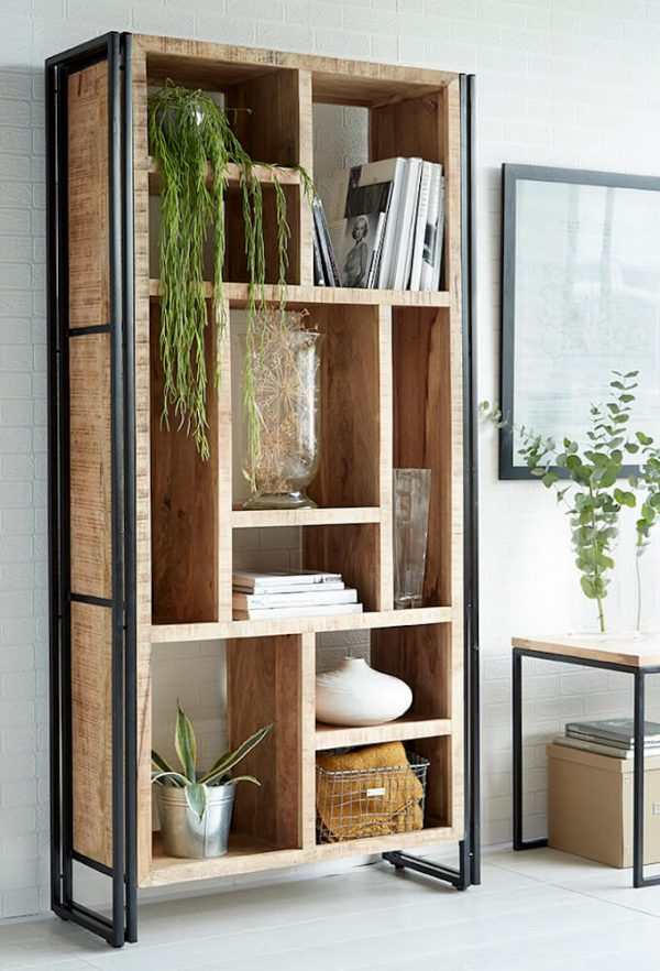 Luna Industrial Large Multi-shelf Bookcase