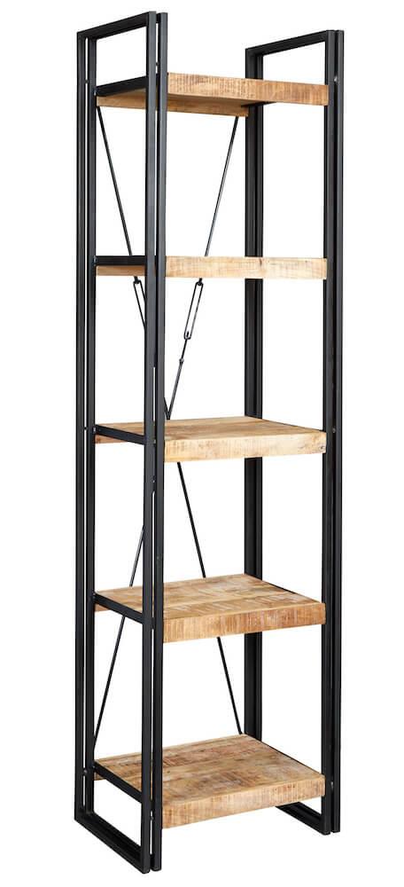 Luna Industrial Slim Bookcase Open