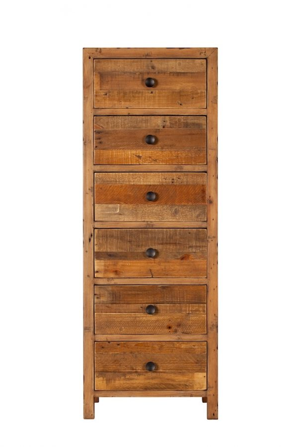 Reclaimed Industial 6 Drawer Tall Chest